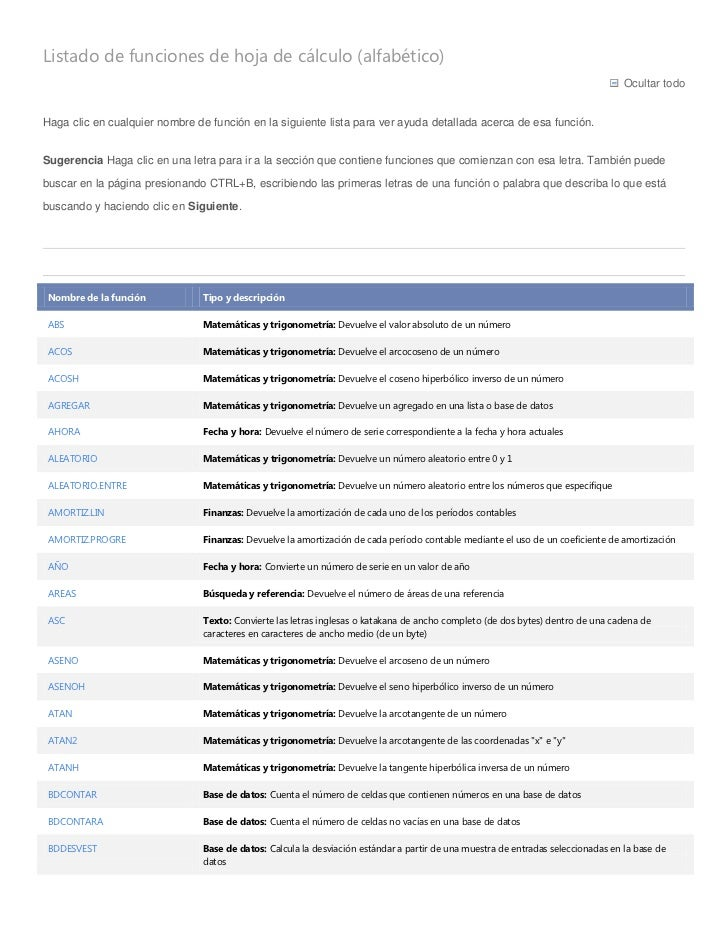 Listado de funciones excel 2010