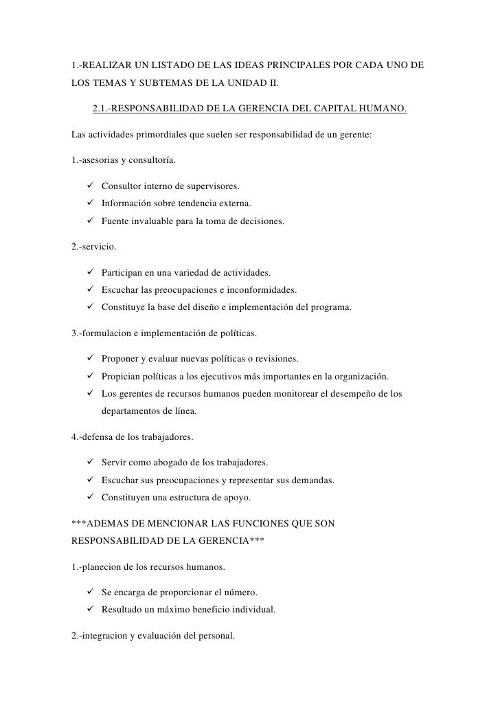 1.-REALIZAR UN LISTADO DE LAS IDEAS PRINCIPALES POR CADA UNO DE LOS TEMAS Y SUBTEMAS DE LA UNIDAD II.<br />2.1.-RESPONSABI...