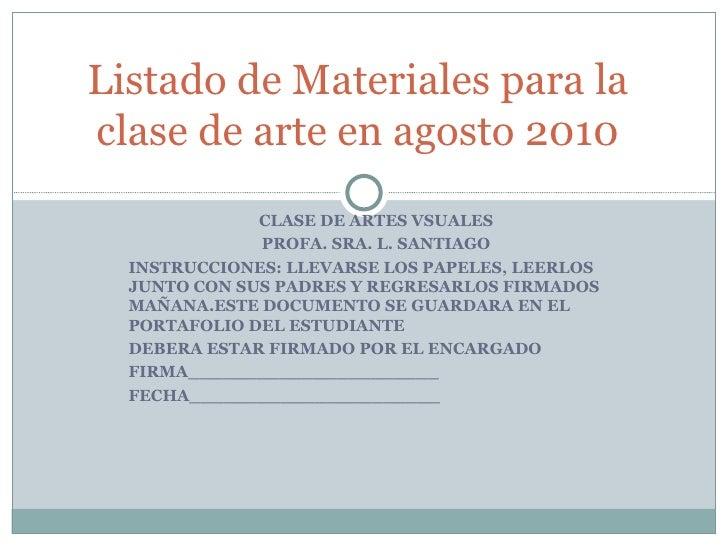 CLASE DE ARTES VSUALES PROFA. SRA. L. SANTIAGO INSTRUCCIONES: LLEVARSE LOS PAPELES, LEERLOS JUNTO CON SUS PADRES Y REGRESA...
