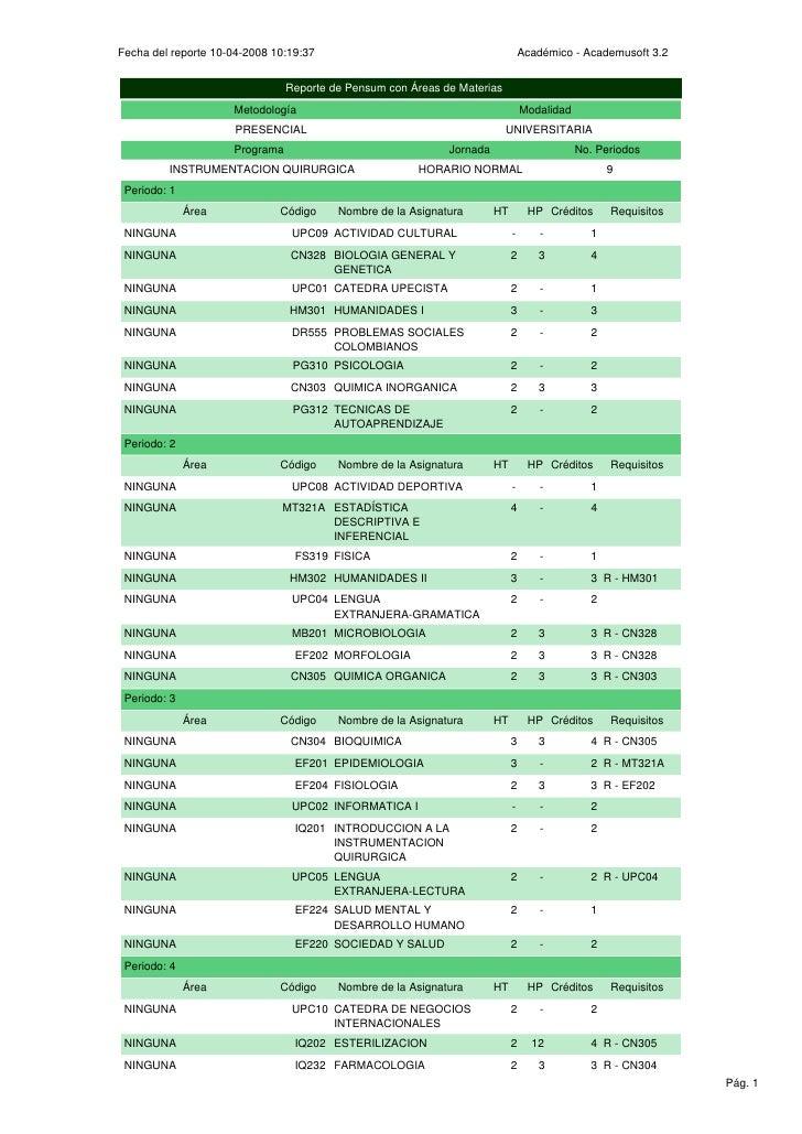 Fecha del reporte 10-04-2008 10:19:37                                           Académico - Academusoft 3.2               ...
