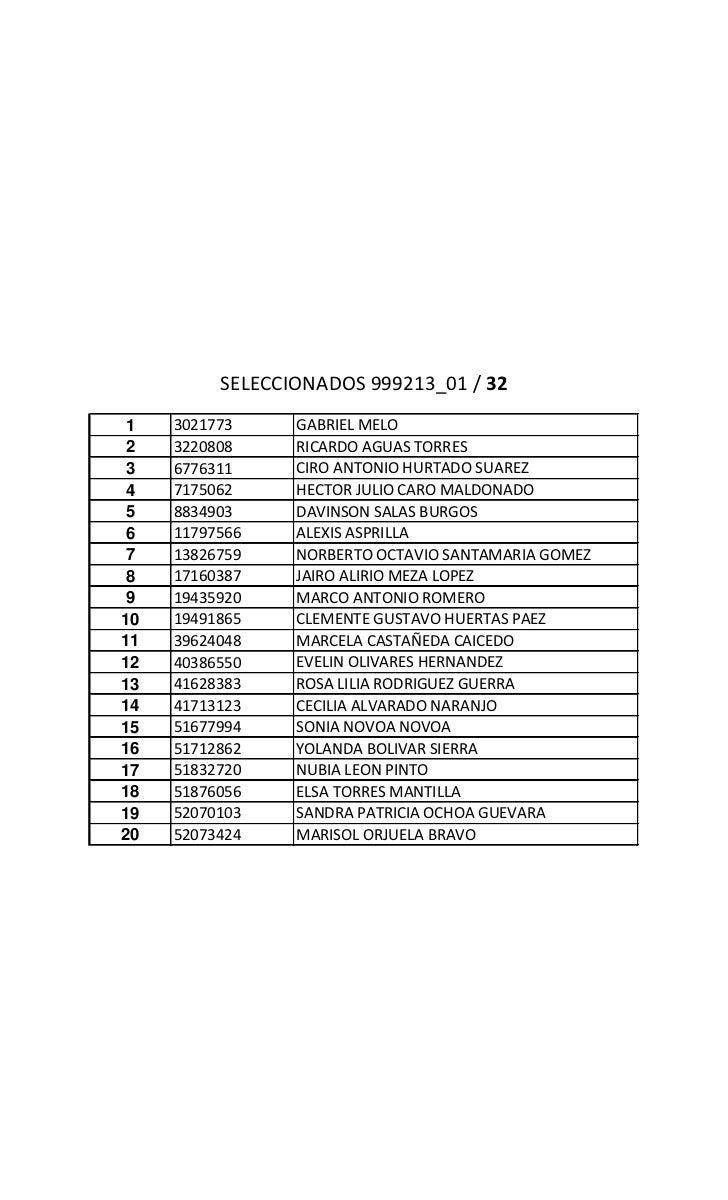 SELECCIONADOS 999213_01 / 32 1   3021773     GABRIEL MELO 2   3220808     RICARDO AGUAS TORRES 3   6776311     CIRO ANTONI...