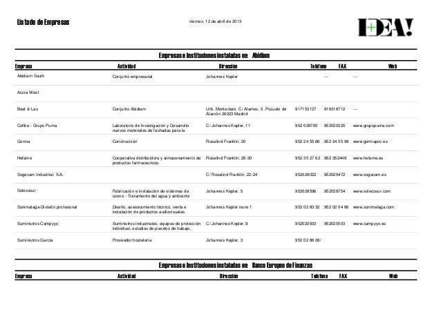 Listado de Empresas viernes, 12 de abril de 2013 Empresa Actividad Dirección Teléfono FAX Web Empresas e Instituciones ins...