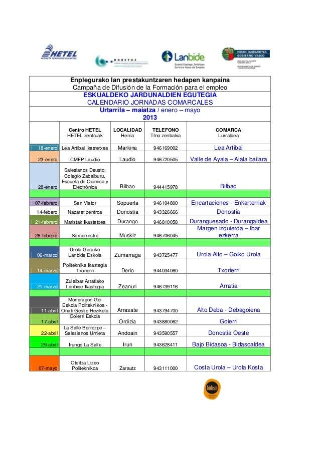 Eskualdeko Jardunaldien egutegia / Calendario Jornadas Comarcales #HETELFpE