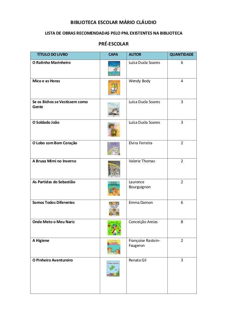 BIBLIOTECA ESCOLAR MÁRIO CLÁUDIO      LISTA DE OBRAS RECOMENDADAS PELO PNL EXISTENTES NA BIBLIOTECA                       ...