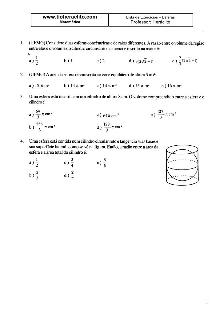 www.tioheraclito.com   Lista de Exercícios – Esferas       Matemática         Professor: Heráclito                        ...