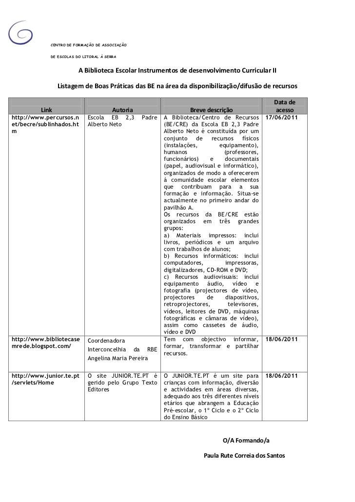 Listagem de Boas Práticas das BE na área da disponibilização/difusão de recursos