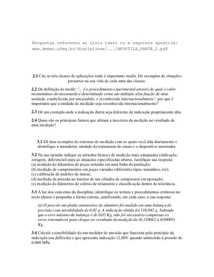 Metrologia - Lista de Exercícios I