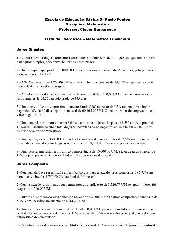 Escola de Educação Básica Dr Paulo Fontes                              Disciplina: Matemática                           Pr...