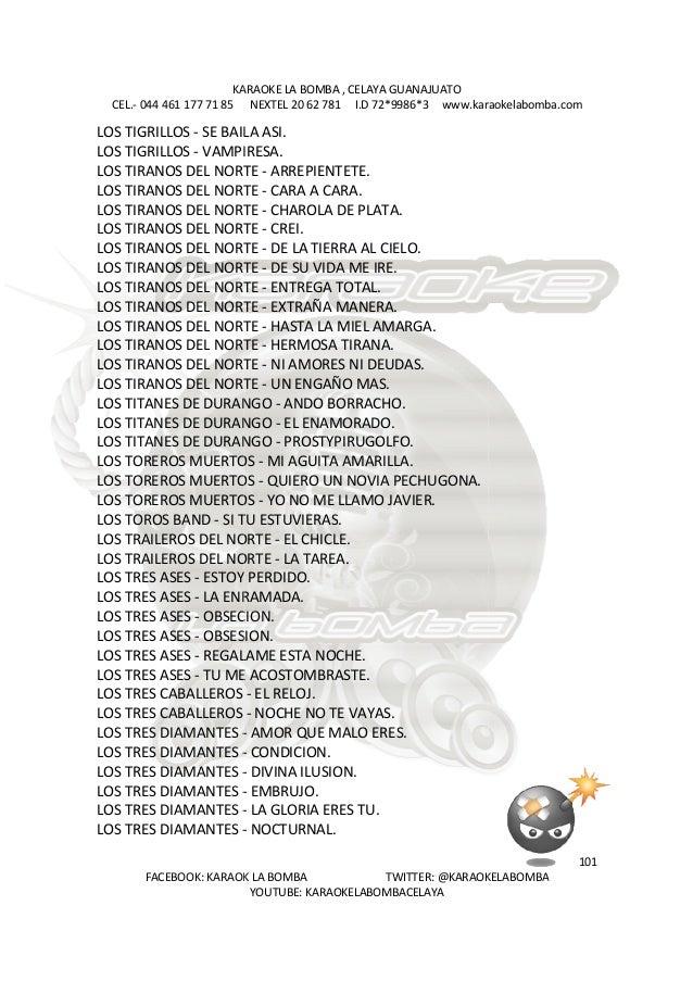 KARAOKE LA BOMBA , CELAYA CEL.- 044 461 177 71 85 FACEBOOK: KARAOK LA BOMBA TWITTER: @KARAOKELABOMBA LOS TIGRILLOS - SE BA...