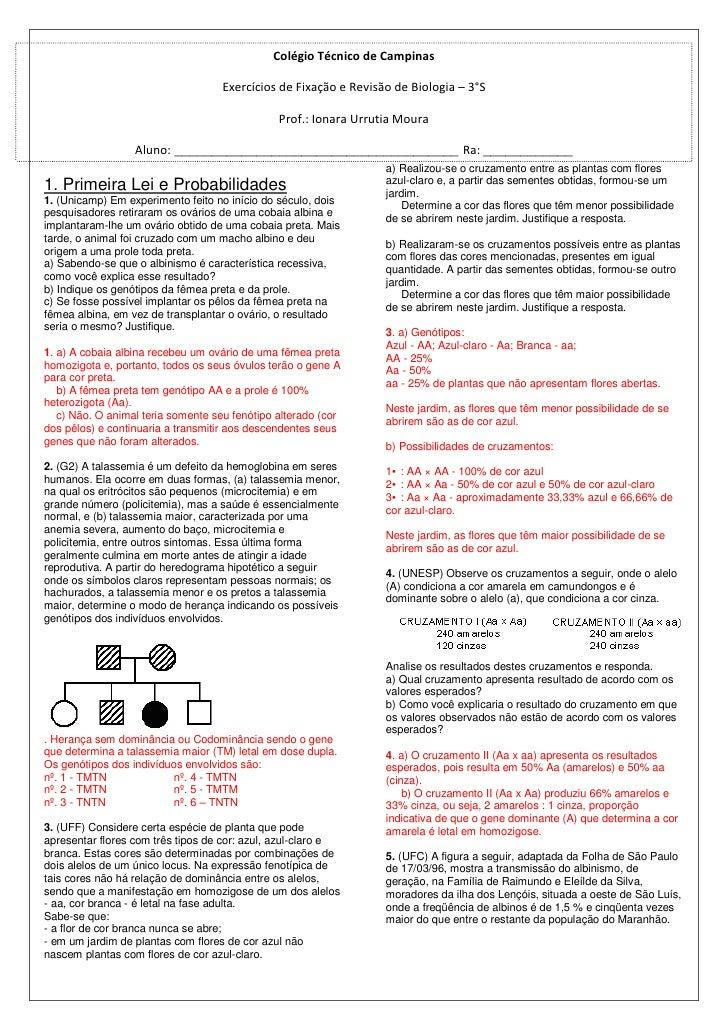 Colégio Técnico de Campinas                                    Exercícios de Fixação e Revisão de Biologia – 3°S          ...