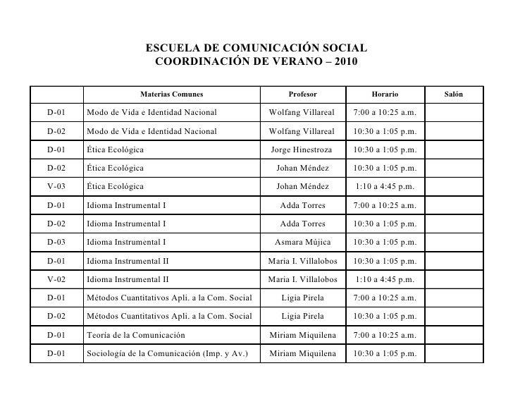 ESCUELA DE COMUNICACIÓN SOCIAL                           COORDINACIÓN DE VERANO – 2010                       Materias Comu...