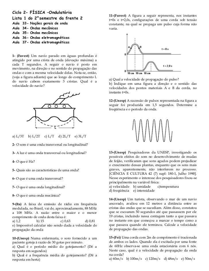 Ciclo 2- FÍSICA –Ondulatória                                                        11-(Fuvest) A figura a seguir represen...