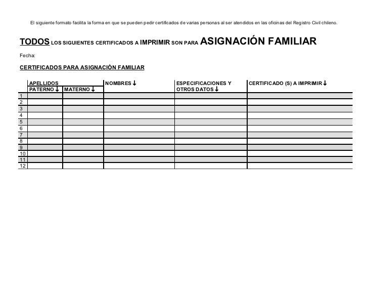 Formato para pedir certificados en el Registro Civil Chileno