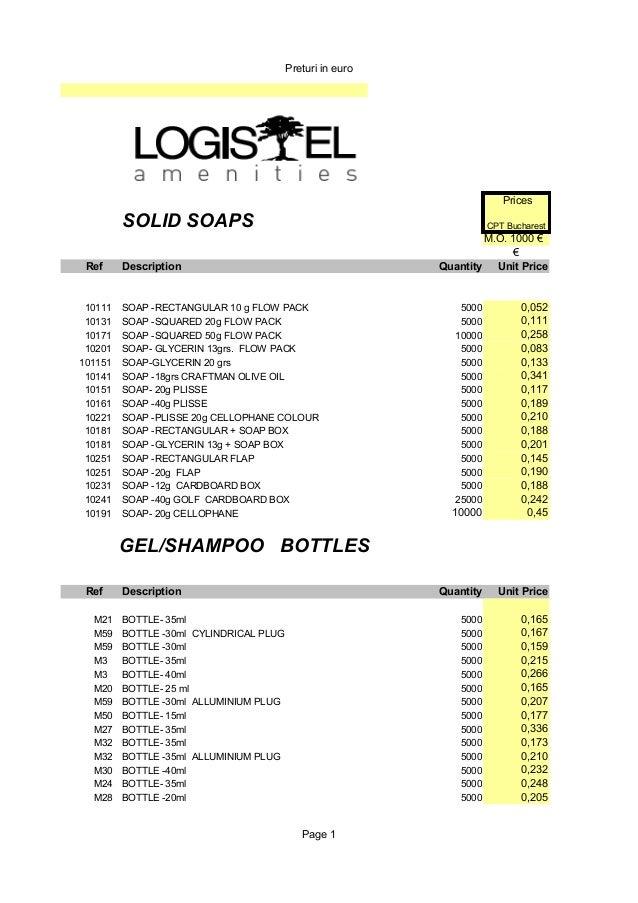 Preturi in euro Page 1 Prices j a b ó nSOLID SOAPS CPT Bucharest M.O. 1000 € € Ref Description Quantity Unit Price 10111 S...