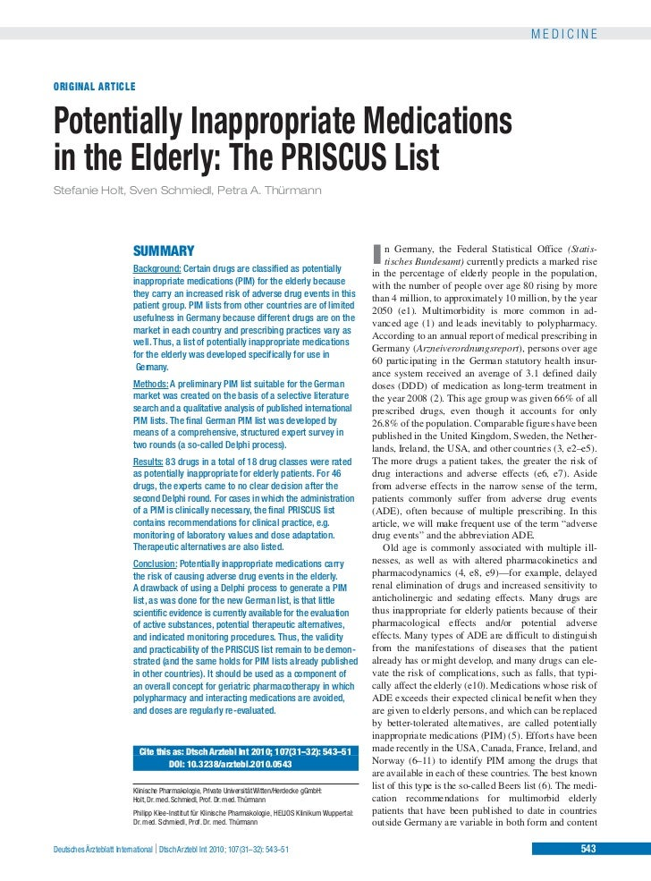 MEDICINEORIGINAL ARTICLEPotentially Inappropriate Medicationsin the Elderly: The PRISCUS ListStefanie Holt, Sven Schmiedl,...