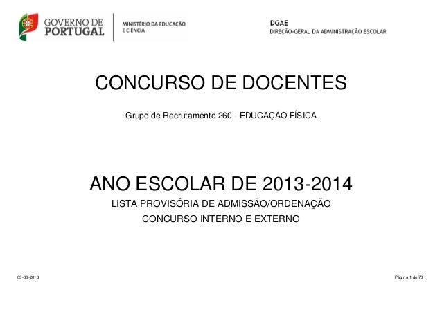 CONCURSO DE DOCENTESGrupo de Recrutamento 260 - EDUCAÇÃO FÍSICAPágina 1 de 73ANO ESCOLAR DE 2013-2014LISTA PROVISÓRIA DE A...