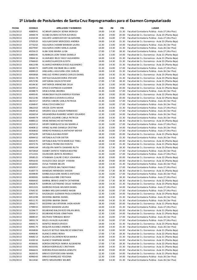 1º Listado de Postulantes de Santa Cruz Reprogramados para el Examen Computarizado  FECHA      CODIGO                APELL...