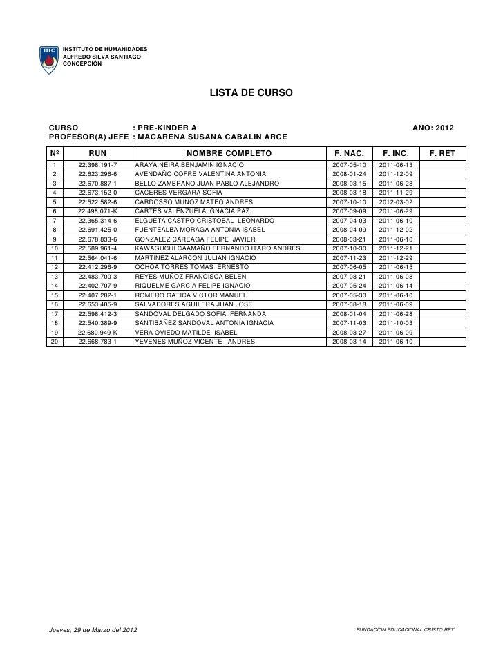 Listas de curso al  29 3_2012