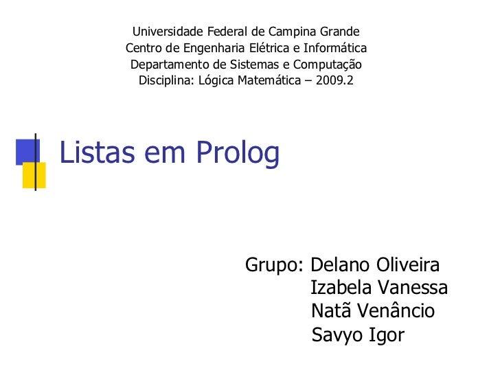Listas em Prolog
