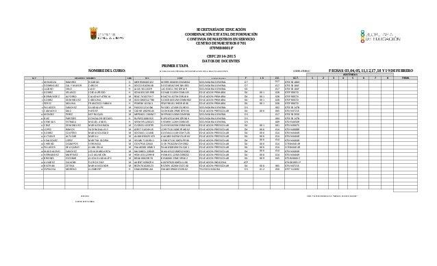 PRIMER ETAPA NOMBRE DEL CURSO: FECHAS: 03,04,05,11,12,17,18 Y 19 DE FEBRERO N/P SEXO RFC CURP NIVEL/MODALIDAD F J.S Z.E. C...