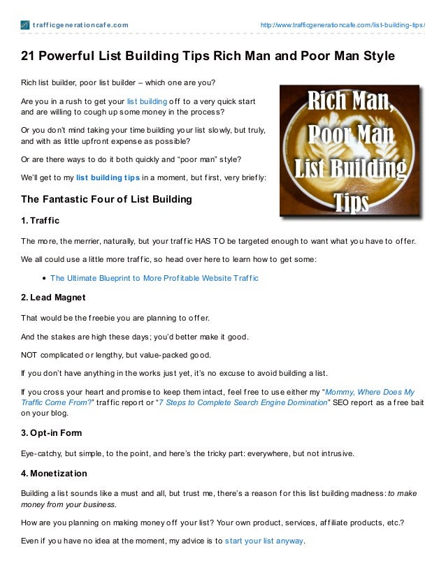 21 Powerful List Building Tips Rich Man and Poor Man Style