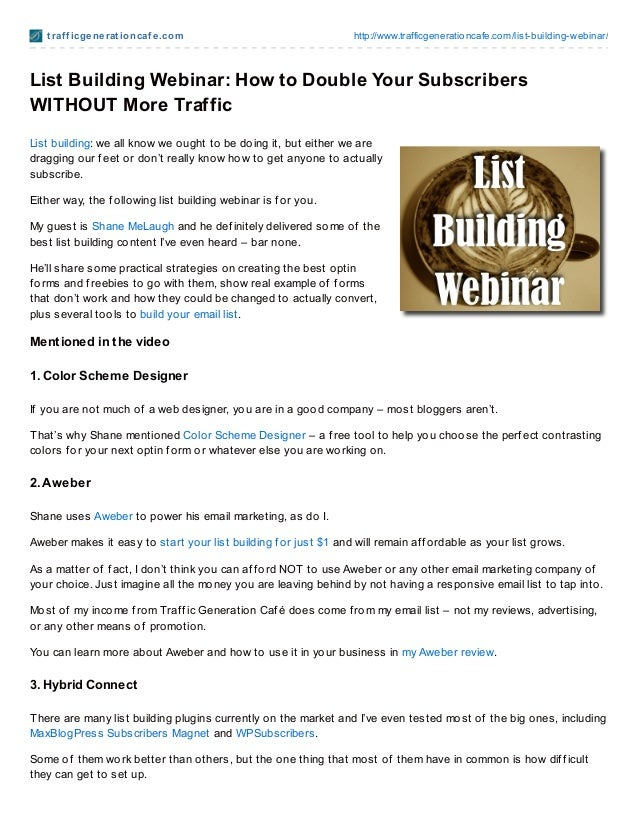 List building Webinar How To Double Your Subscribers Without More Traffic