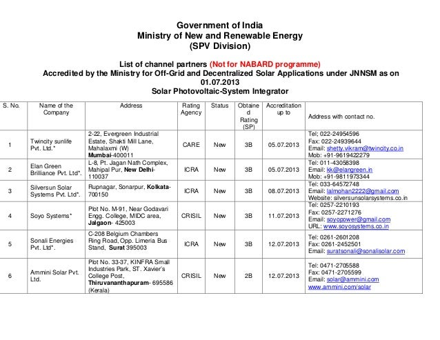Government of India Ministry of New and Renewable Energy (SPV Division) List of channel partners (Not for NABARD programme...