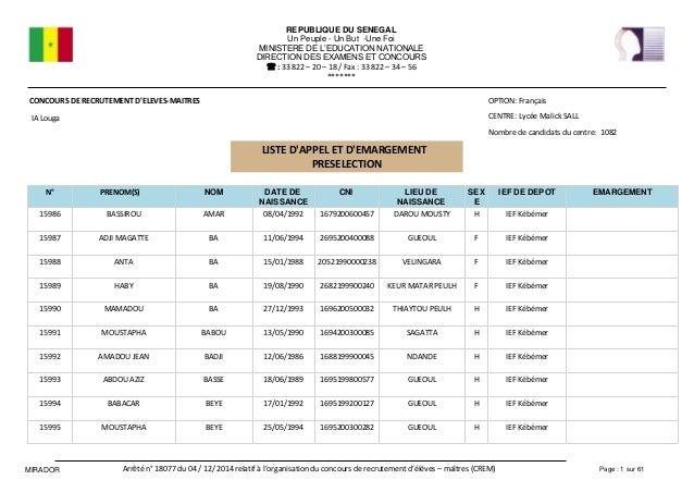 REPUBLIQUE DU SENEGAL Un Peuple - Un But -Une Foi MINISTERE DE L EDUCATION NATIONALE DIRECTION DES EXAMENS ET CONCOURS Fax...