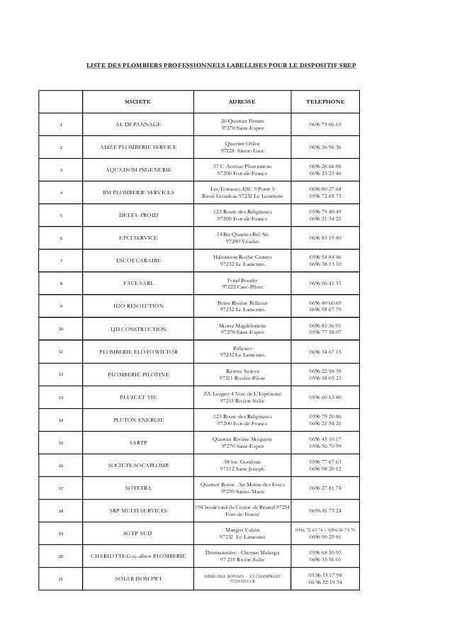 Liste des plombiers labellisés 04 février 2013