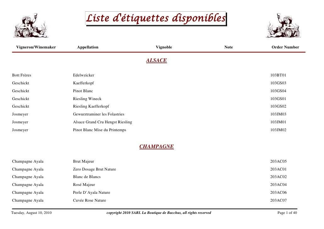 Liste d'étiquettes disponibles    Vigneron/Winemaker         Appellation                                    Vignoble      ...