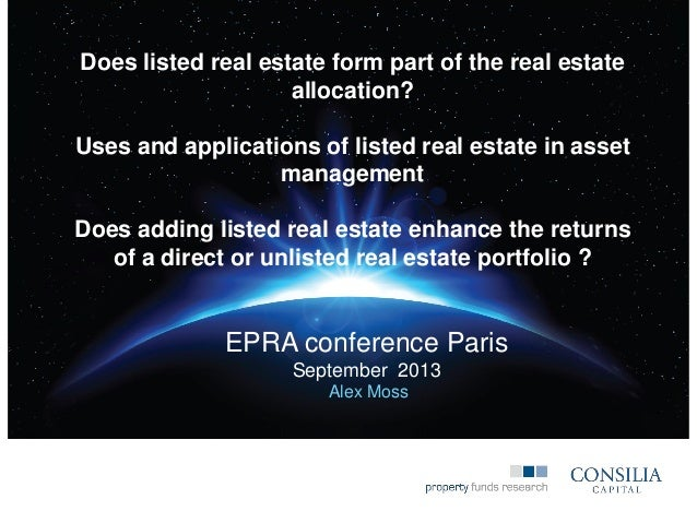 Listed real estate applications   EPRA conference presentation 2103
