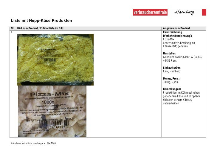 Liste mit Nepp-Käse Produkten Nr. Bild zum Produkt / Zutatenliste im Bild    Angaben zum Produkt 1                        ...