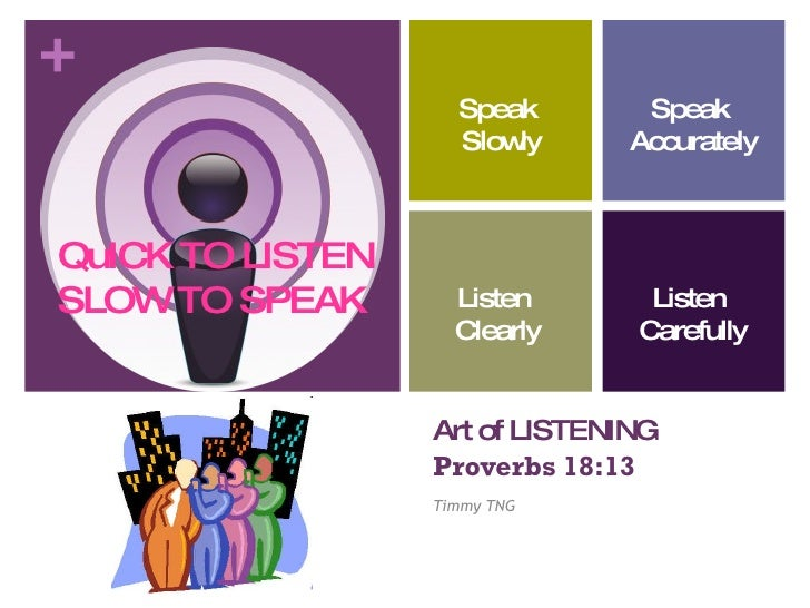 Art of LISTENING   Proverbs 18:13 Timmy TNG Speak Slowly Speak  Accurately Listen  Clearly Listen  Carefully QuICK TO LIST...