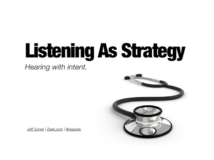 Listening As Strategy Hearing with intent.     Jeff Turner | Zeek.com | @respres