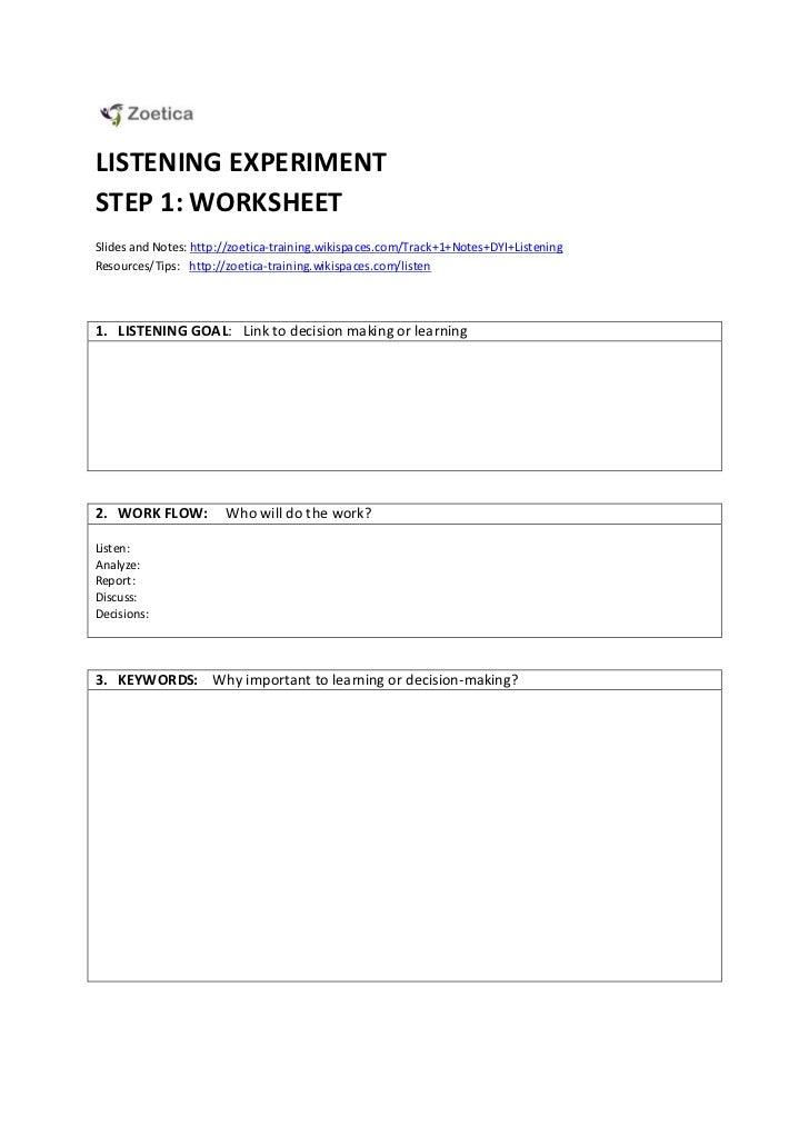 Listening Worksheet: 1