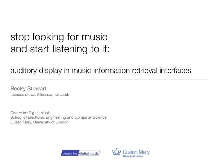 Auditory Display in MIR