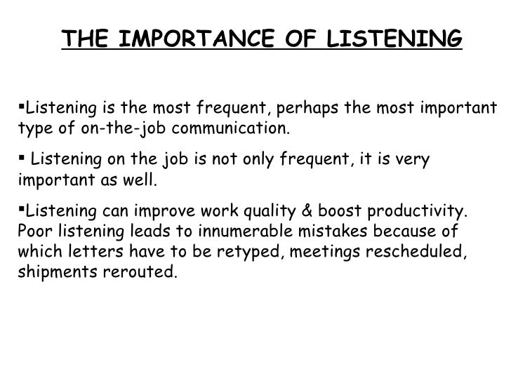 workplace listening barrier Last week's feature focused on communication skills and their importance in the workplace this week's feature is about the other side of communication-listening skills.