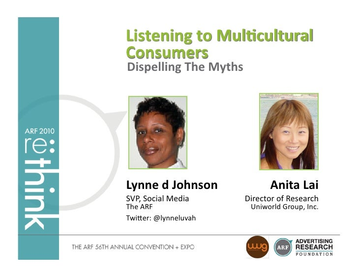 Listening	   to	   Mul-cultural	    Consumers	    Dispelling	   The	   Myths	        Lynne	   d	   Johnson	               ...