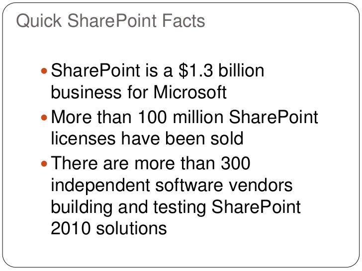Quick SharePoint Facts   SharePoint is a $1.3 billion    business for Microsoft   More than 100 million SharePoint    li...