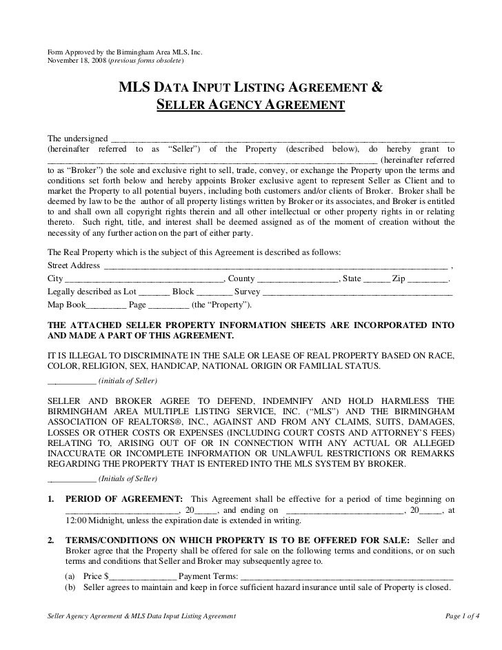 Form Approved by the Birmingham Area MLS, Inc.November 18, 2008 (previous forms obsolete)                     MLS DATA INP...