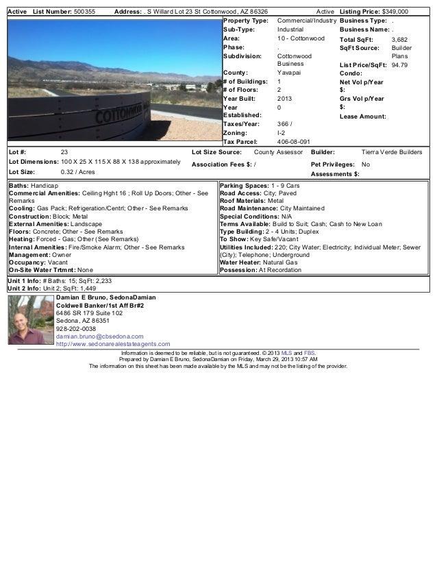 Active List Number: 500355           Address: . S Willard Lot 23 St Cottonwood, AZ 86326                              Acti...