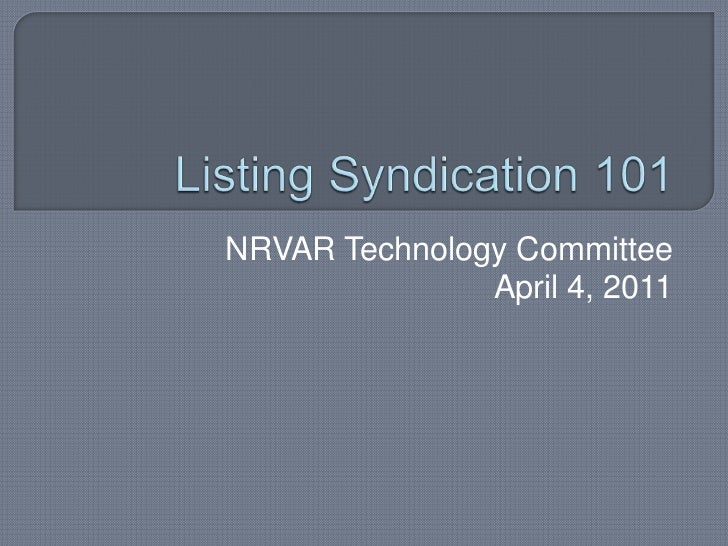 Listing Syndication 101 for Real Estate