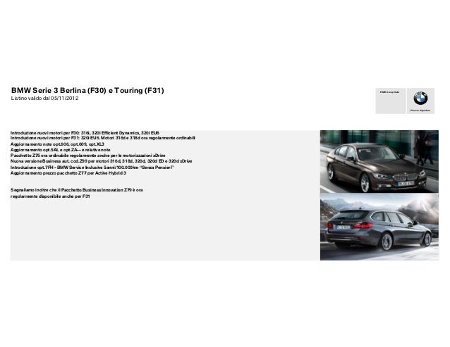BMW Serie 3 Berlina (F30) e Touring (F31)                                                     BMW Group ItaliaListino vali...