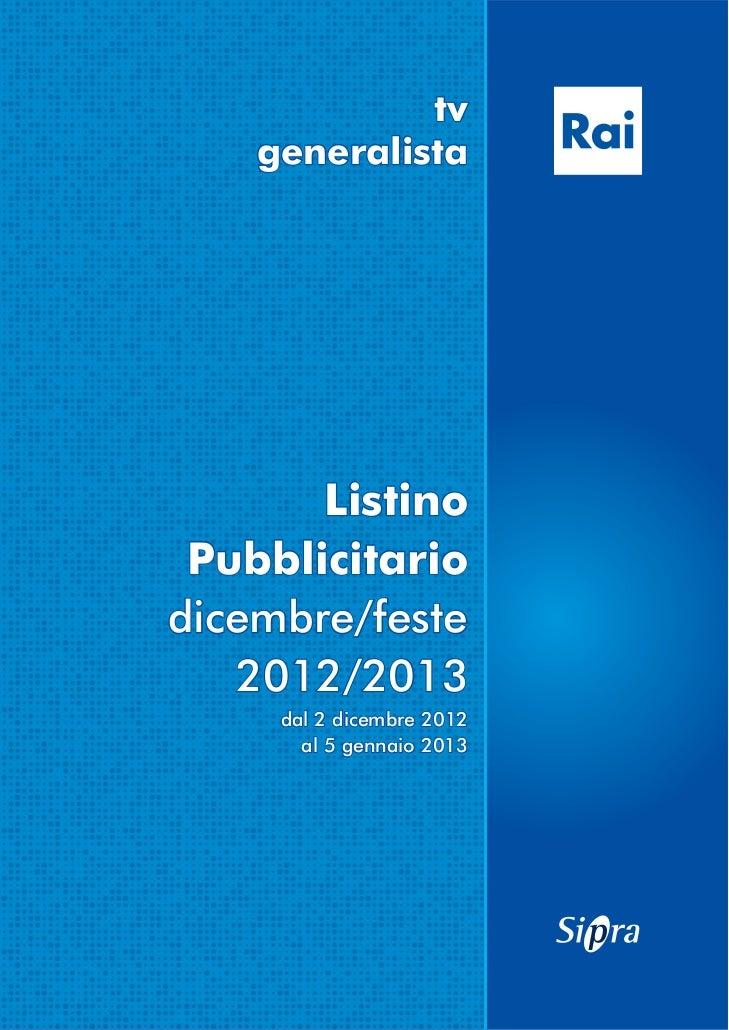 Listino pubblicitario Rai 2012 2013