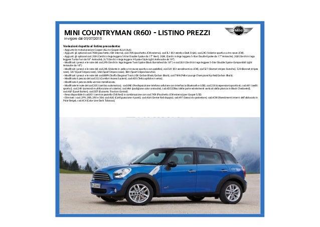 Listino Prezzi Mini Countryman R60 2013