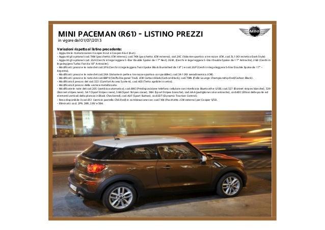 Listino Prezzi Mini Paceman R61 2013