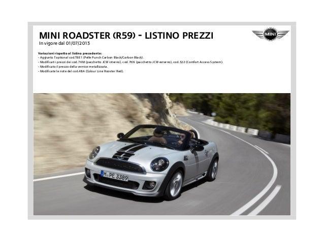 Listino Prezzi Mini Roadster R59 2013