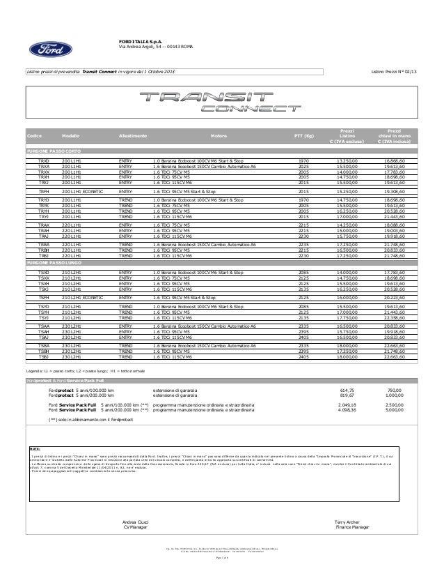 FORD ITALIA S.p.A. Via Andrea Argoli, 54 -- 00143 ROMA  Listino prezzi di prevendita Transit Connect in vigore dal 1 Ottob...