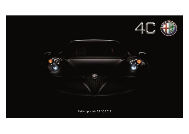 Listino prezzi Alfa Romeo 4C