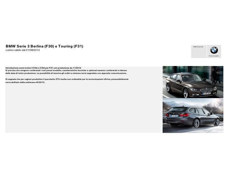Listino prezzi bmw_serie_3_touring_f31_e_berlina_f30_da_01_08_2012
